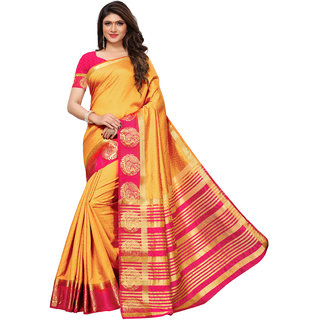 658b798e5dae28 Buy Kanjivaram Tussar Silk Saree With Blouse - 5.25 Meter Online ...