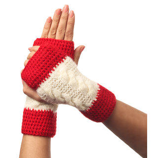 Handmade KC Women's GLOVES (MITTS) hand knitted Homemade woolen MITTS Natural pure wool warm winter HAND WARMER Handmade