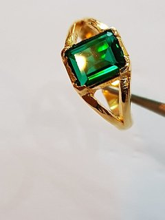 Emerald Ring Gold Plated Panna Stone Jaipur Gemstone