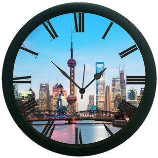 meSleep Blue City Wall Clock (With Glass)