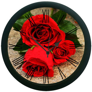 AE World Rose 3D Wall Clock (With Glass) 12 Inches