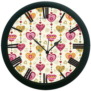 AE World Ethnic Hearts Wall Clock (With Glass) 13 Inches