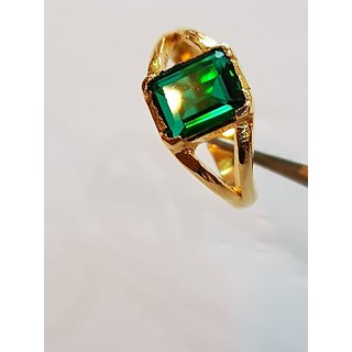 Emerald Ring Gold Plated Panna Stone Jaipur Gemstone