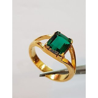 Emerald Ring Natural Stone Panna Gold Plated Ring Jaipur Gemstone