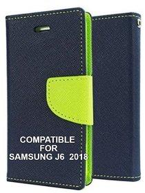BRAND FUSON Mercury Goospery Fancy Diary Wallet Flip Cover for Samsung Galaxy J6 (2018) Premium Quality - Blue