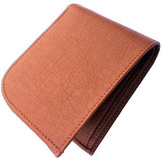 Mens Handmade Top Grain Leather Bi Fold Wallet (Tan Curve)