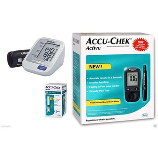 BP Monitor Omron HEM 8712 with Accu-Chek Active Blood Glucometer with 10 Test Strips Free