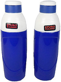 Cello Puro Insulated Plastic Blue Water Bottle Set, 900ml, Set of 2, unbreakable