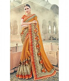 Mustard Colored Fancy Fabrics Heavy Embroidered Saree