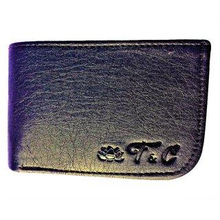 Mens Handmade Top Grain Leather Bi Fold Wallet (Black Curve)