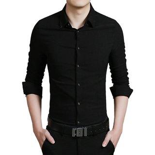 US Pepper Black Plain Cotton Casual Shirt (Pack of 1)