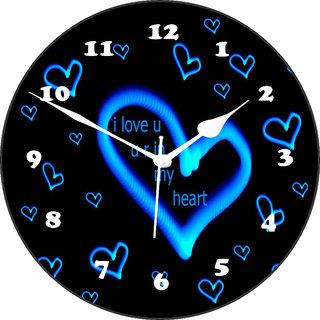 3d blue heart3 wall clock