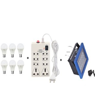 Combo Of 6 PNP B22 Cool Daylight LED Bulbs, Rechargeable Emergency Light & 8 Plug Point Extension Board