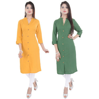 Purvahi Mango yellow and Green  color Plain stitched kurti (Pack of 2 )