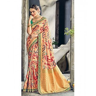 Multi Colored Kora Silk Embroidered Blouse With Weaving Print Saree