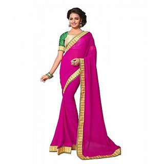 Rani Pink Colored Georgette Heavy Gold Maharani Border With Dhupian Piping  Contrast Blouse Saree