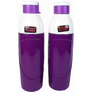 Cello Puro Insulated Plastic purple Water Bottle Set 900ml Set of 2 unbreakable