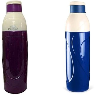 Cello Puro Insulated Plastic Purple blue Water Bottle Set 900ml Set of 2 unbreakable