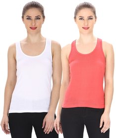 Friskers Multicolor Casual Cotton Plain Tank Tops (Pack of 2)