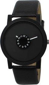 Gujju Rocks Black Dial Leather Belt Watch For Men - For
