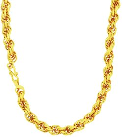 Memoir 24KT Gold plated 24 Inch, 6mm thick Rope design chain for Men and Women
