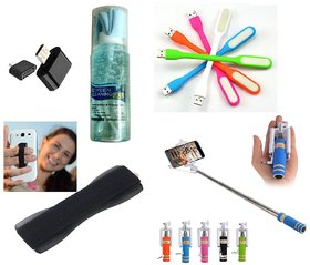 KSJ (S05) Combo of Selfie Stick AUX Cable, Finger Grip, USB LED Light, OTG Adopter and Cleaning Kit (Assorted Colors)