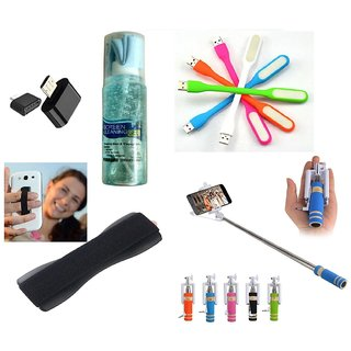 (S05) Combo of Selfie Stick, Finger Grip, USB LED Light, OTG Adopter and Cleaning Kit (Assorted Colors)