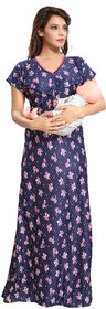 Be You Navy Blue Floral Women Nursing / Maternity Gown