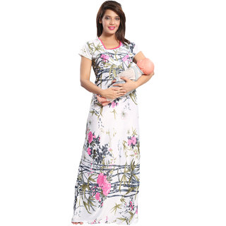 Be You Pink Floral Women Nursing / Feeding Gown