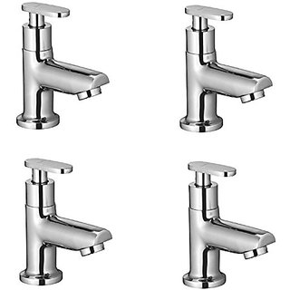 Oleanna Metroo Brass Pillar Cock For Wash Basin And Sink Tap (Disc Fitting   Quarter Turn   Form Flow) Chrome - Pack Of 4 Nos