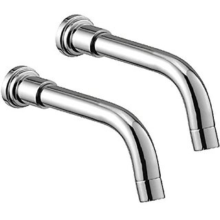 Oleanna Metroo Brass Plain Spout With Wall Flange Used For Divertor, Concealed,Angular Cock Bath Tub Spout Chrome - Pack Of 2 Nos