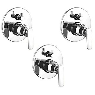 Oleanna Metroo Brass 4 Way Complete Divertor Set And Addons Body Of Single Lever Concealed, Mixers And Divertor For Bath And Shower System (High Quality Cartridges | Quarter Turn) Chrome - Pack Of 3 Nos