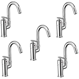 Oleanna Metroo Brass Single Lever Fittings Single Lever Sink Mixer Table Mounted With Swivel Spout And 450Mm Braided Connection Pipe And Hot & Cold Water Feature (High Quality Cartridges | Quarter Turn | Form Flow) Chrome - Pack Of 5 Nos