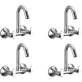 Oleanna Metroo Brass Sink Mixer With Swivel Spout Wall Mounted (Disc Fitting | Quarter Turn | Form Flow) Chrome - Pack Of 4 Nos