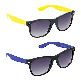 Hrinkar Grey Mirrored Wayfarer Unisex Sunglasses