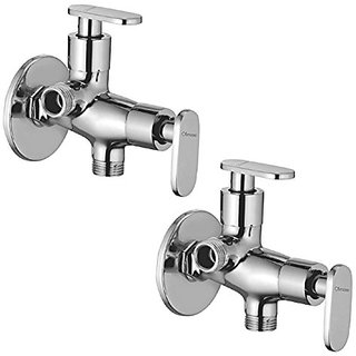 Oleanna Metroo Brass 2 In 1 Angle Valve With Wall Flange 2-Way Agular Stop Cock (Disc Fitting | Quarter Turn) Chrome - Pack Of 2 Nos