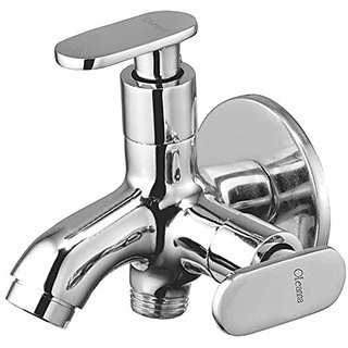 Oleanna Metroo Brass 2 In 1 Bib Tap With Wall Flange (Disc Fitting | Quarter Turn | Form Flow) Chrome