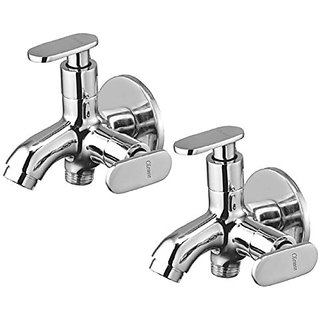 Oleanna Metroo Brass 2 In 1 Bib Tap With Wall Flange (Disc Fitting | Quarter Turn | Form Flow) Chrome - Pack Of 2 Nos