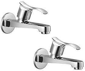 Oleanna Angel Brass Long Nose Bib Cock With Wall Flange Long Body Tap (Disc Fitting | Quarter Turn | Form Flow) Chrome - Pack Of 2 Nos