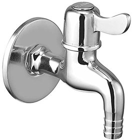 Oleanna Magic Brass Bib Tap Nozzle Cock with Wall Flange (Disc Fitting  Quarter Turn) Chrome