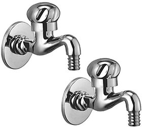 Oleanna Moon Brass Bib Tap Nozzle Cock With Wall Flange (Rising Fitting  Quarter Turn) Chrome - Pack Of 2 Nos