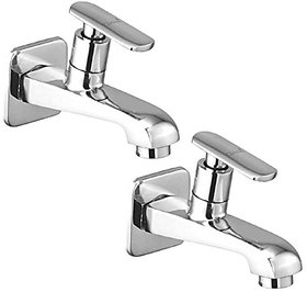 Oleanna Speed Brass Long Nose Bib Cock With Wall Flange Long Body Tap (Disc Fitting  Quarter Turn  Form Flow) Chrome - Pack Of 2 Nos