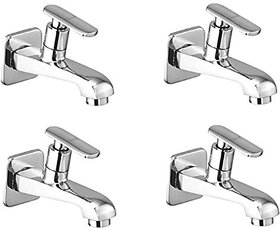 Oleanna Speed Brass Long Nose Bib Cock With Wall Flange Long Body Tap (Disc Fitting  Quarter Turn  Form Flow) Chrome - Pack Of 4 Nos