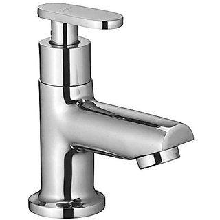 Oleanna Metroo Brass Pillar Cock For Wash Basin And Sink Tap (Disc Fitting | Quarter Turn | Form Flow) Chrome