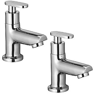 Oleanna Metroo Brass Pillar Cock For Wash Basin And Sink Tap (Disc Fitting | Quarter Turn | Form Flow) Chrome - Pack Of 2 Nos