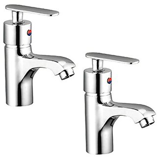 Oleanna Metroo Brass Single Lever Basin Mixer With 450Mm Flexible Hose And Hot & Cold Water Feature (High Quality Cartridges | Quarter Turn | Form Flow) Chrome - Pack Of 2 Nos