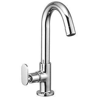 Oleanna Metroo Brass Swan Neck Pillar Tap With Swivel Spout For Sink And Basin Kitchen And Bathroom (Disc Fitting | Quarter Turn | Form Flow) Chrome