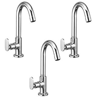 Oleanna Metroo Brass Swan Neck Pillar Tap With Swivel Spout For Sink And Basin Kitchen And Bathroom (Disc Fitting | Quarter Turn | Form Flow) Chrome - Pack Of 3 Nos