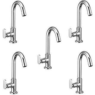 Oleanna Metroo Brass Swan Neck Pillar Tap With Swivel Spout For Sink And Basin Kitchen And Bathroom (Disc Fitting | Quarter Turn | Form Flow) Chrome - Pack Of 5 Nos