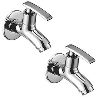Oleanna Desire Brass Bib Tap With Wall Flange (Disc Fitting | Quarter Turn | Form Flow) Chrome - Pack Of 2 Nos
